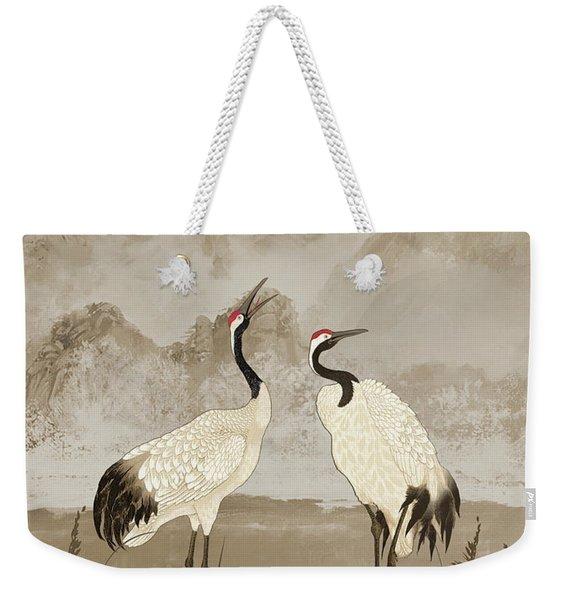 Wintering Manchurian Cranes Weekender Tote Bag