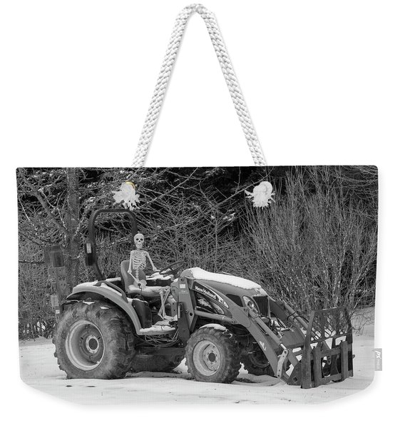 Wintry Country Skeleton On Tractor Weekender Tote Bag