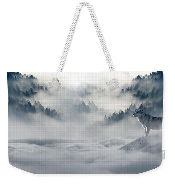 Wolfs In The Snow Weekender Tote Bag
