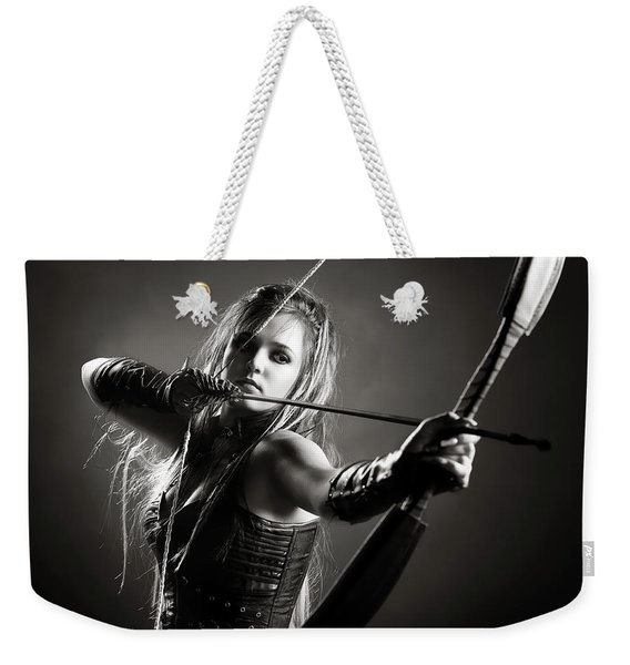Woman Archer Aiming Arrow Weekender Tote Bag
