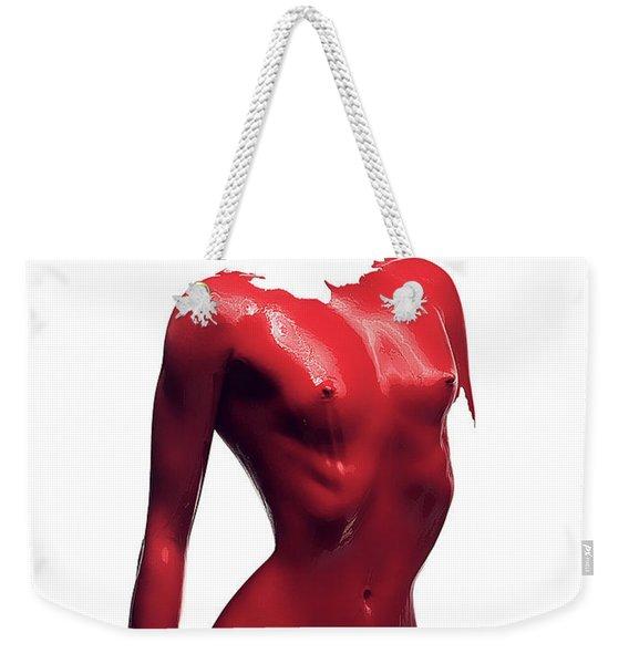 Woman Body Red Paint Weekender Tote Bag
