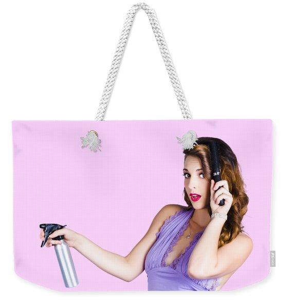 Woman Brushing Her Hair  Weekender Tote Bag