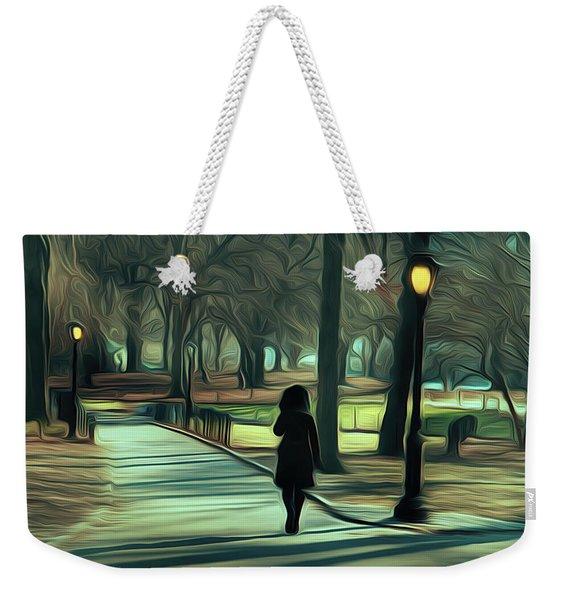 Woman Walking In Central Park Weekender Tote Bag