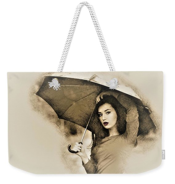 Woman With A Umbrella Weekender Tote Bag