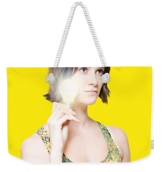 Woman With Bright Idea Weekender Tote Bag