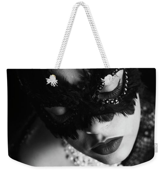 Woman With Elegant Mask Weekender Tote Bag