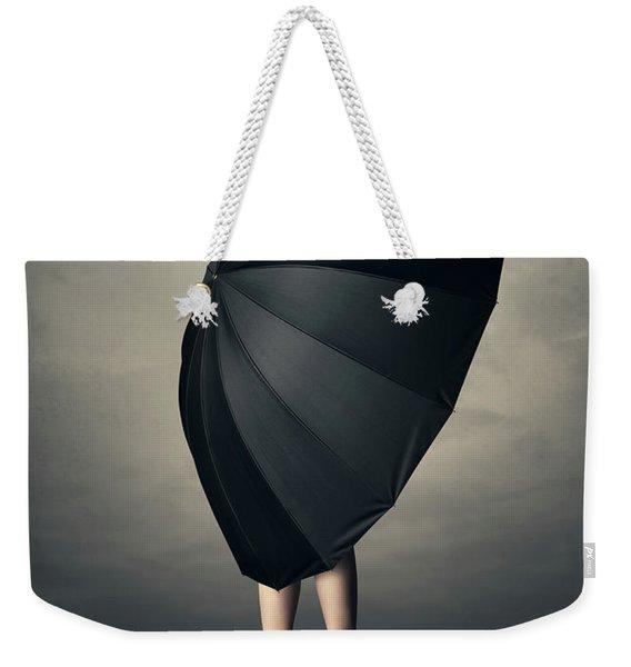 Woman With Huge Umbrella Weekender Tote Bag