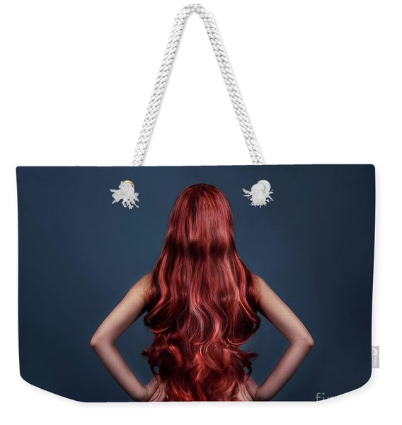 Woman With Long Red Hair From Behind Weekender Tote Bag