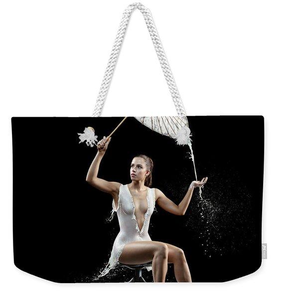 Woman With Milk Dress Weekender Tote Bag