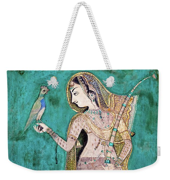 Woman With Parrot Weekender Tote Bag