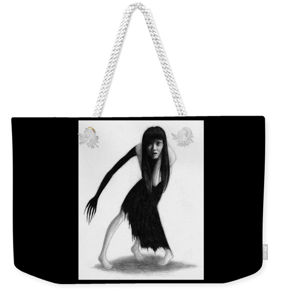 Weekender Tote Bag featuring the drawing Woman With The Black Arm Of Demon Ghost Artwork by Ryan Nieves