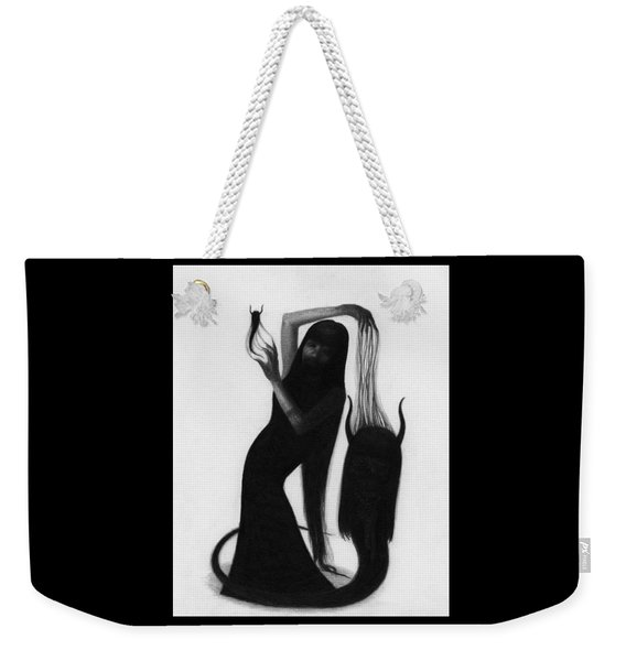 Weekender Tote Bag featuring the drawing Woman With The Demons Fingertips - Artwork by Ryan Nieves