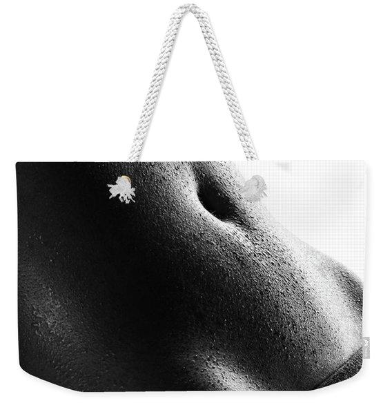 Woman's Abdomen Full Of Sweat Weekender Tote Bag