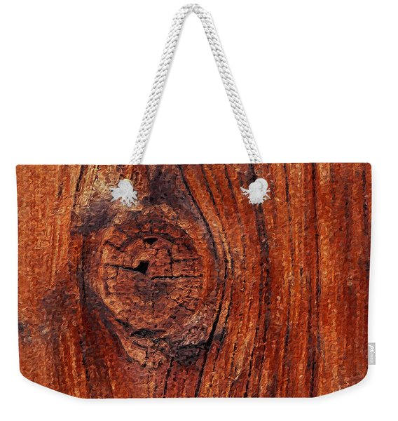 Weekender Tote Bag featuring the digital art Wood Knot by ISAW Company