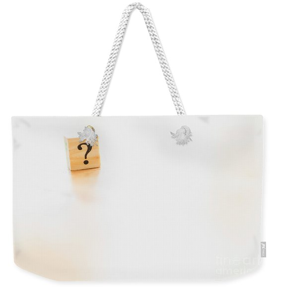 Wooden Dice With Question Mark And Doubt. Weekender Tote Bag