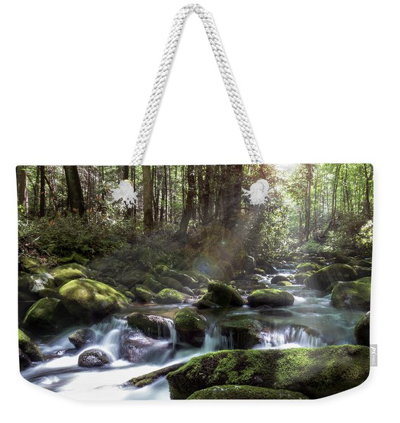 Weekender Tote Bag featuring the photograph Woodland Falls by Patti Deters