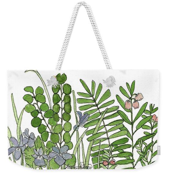 Woodland Ferns Violets Nature Illustration Weekender Tote Bag