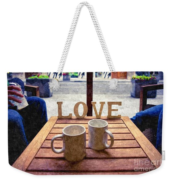 Word Love Next To Two Cups Of Coffee On A Table In A Cafeteria,  Weekender Tote Bag