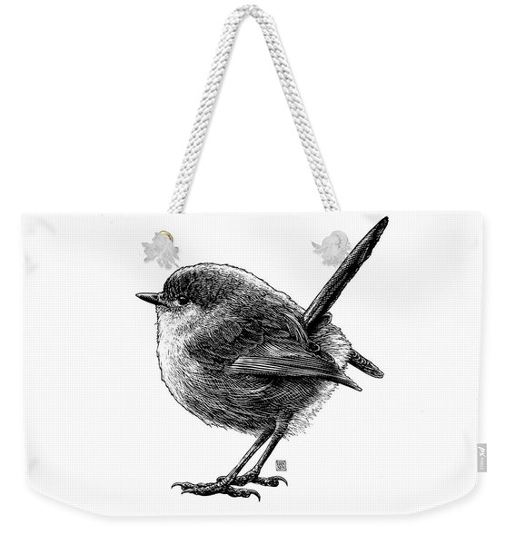 Weekender Tote Bag featuring the drawing Wren by Clint Hansen