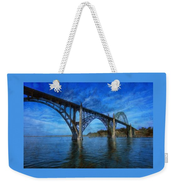Yaquina Bay Bridge From South Beach Weekender Tote Bag