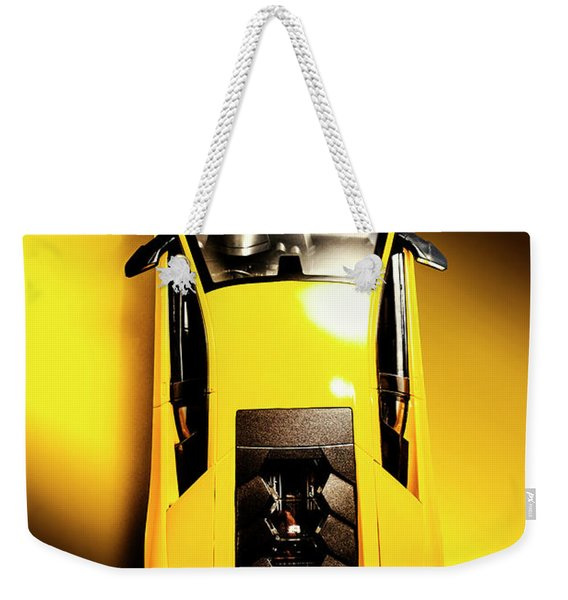 Yellow And Black Weekender Tote Bag