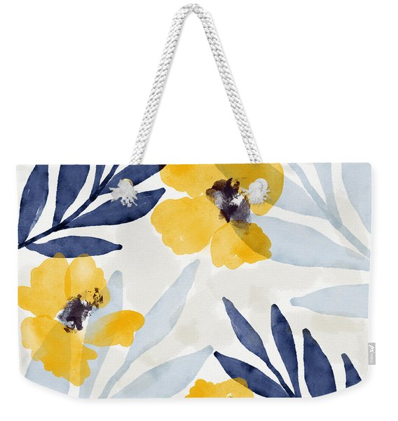 Yellow And Navy 1- Floral Art By Linda Woods Weekender Tote Bag