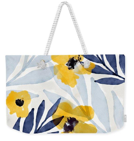 Yellow And Navy 2- Floral Art By Linda Woods Weekender Tote Bag