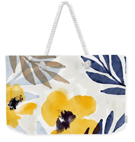 Yellow And Navy 3- Floral Art By Linda Woods Weekender Tote Bag