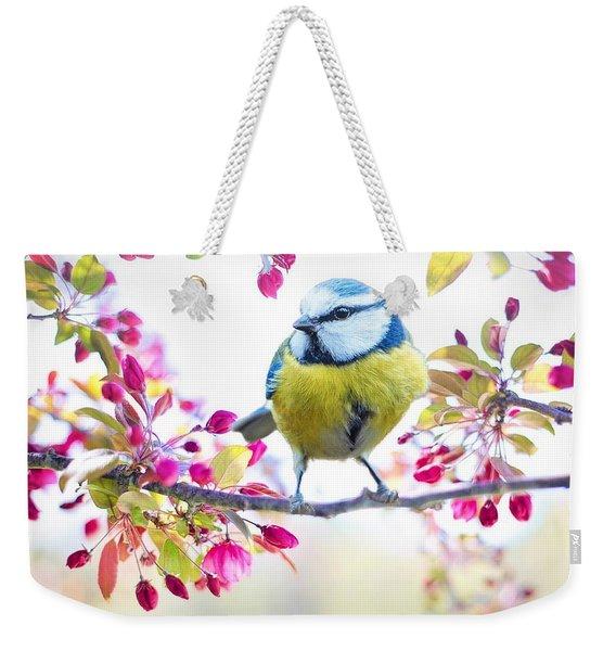 Yellow Blue Bird With Flowers Weekender Tote Bag