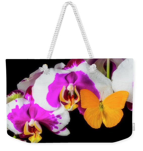 Yellow Butterfly On Orchid Weekender Tote Bag