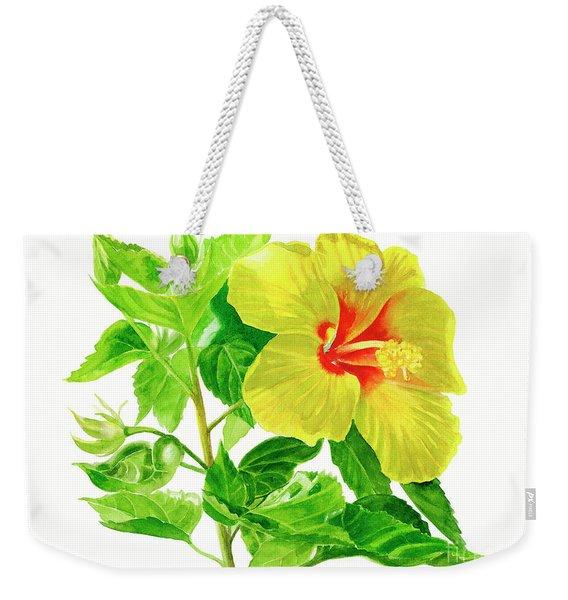 Yellow Hibiscus Flower Weekender Tote Bag
