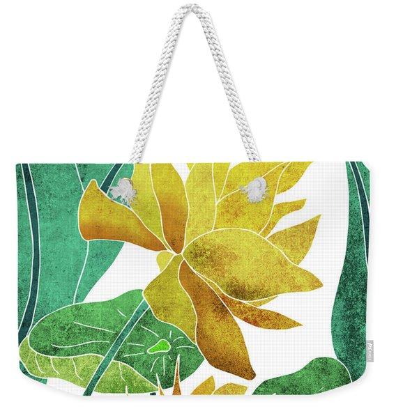 Yellow Lotus Flower - Botanical, Floral, Tropical Art - Modern, Minimal Decor - Yellow, Green Weekender Tote Bag