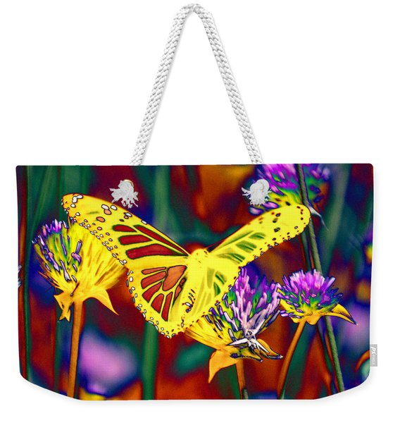 Yellow Monarch Butterfly Weekender Tote Bag