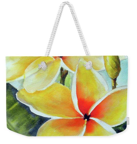 Yellow Plumeria Weekender Tote Bag