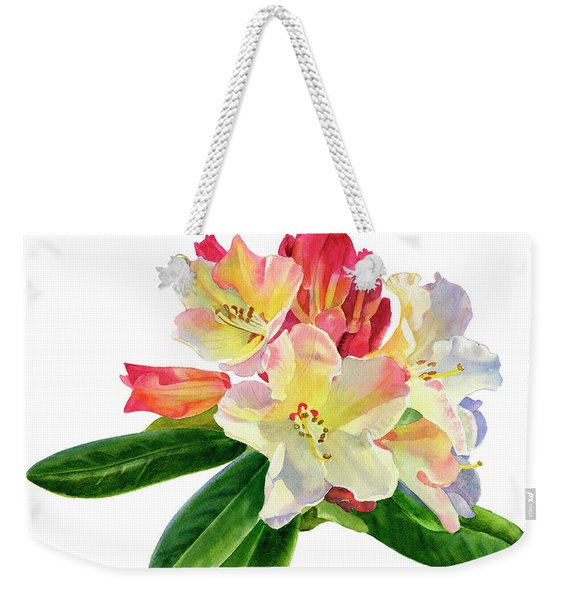 Yellow Rhododendron With White Background Weekender Tote Bag