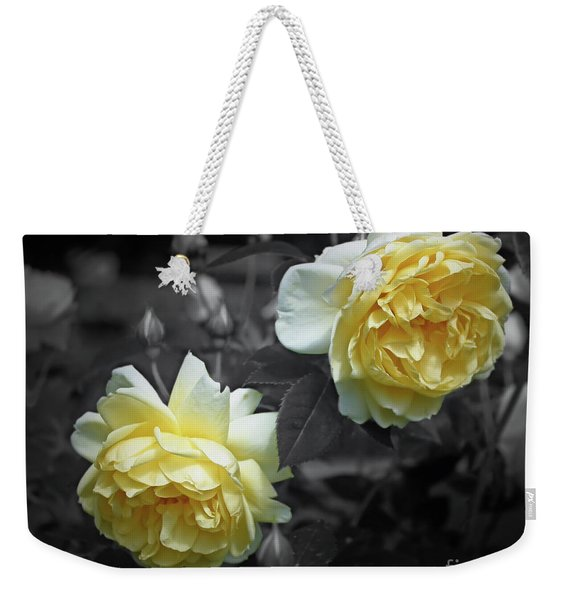 Yellow Roses Partial Color Weekender Tote Bag