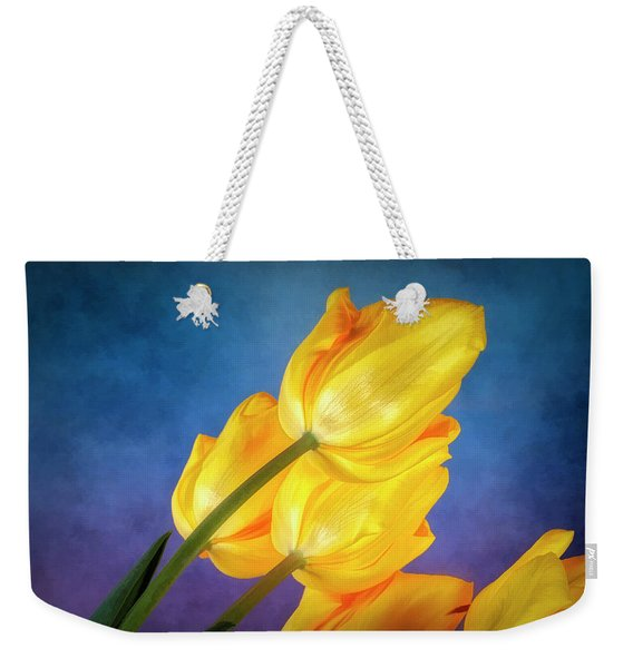 Yellow Tulips On Blue Weekender Tote Bag