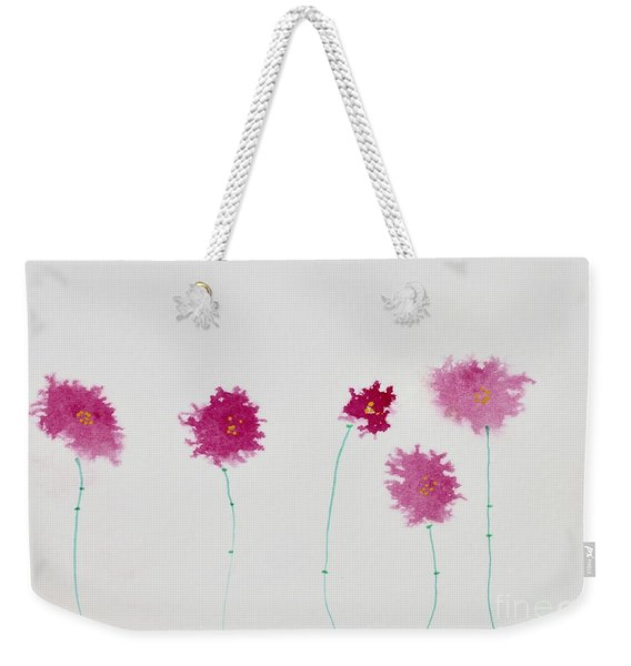 Weekender Tote Bag featuring the painting Yesterday's Petals by Kim Nelson