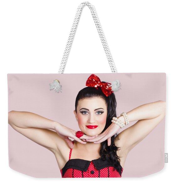 Young Beautiful Make-up Pin Up Woman Posing Weekender Tote Bag