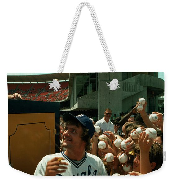 Young Fans Hold Up Baseballs For Royals Star George Brett To Sign Weekender Tote Bag