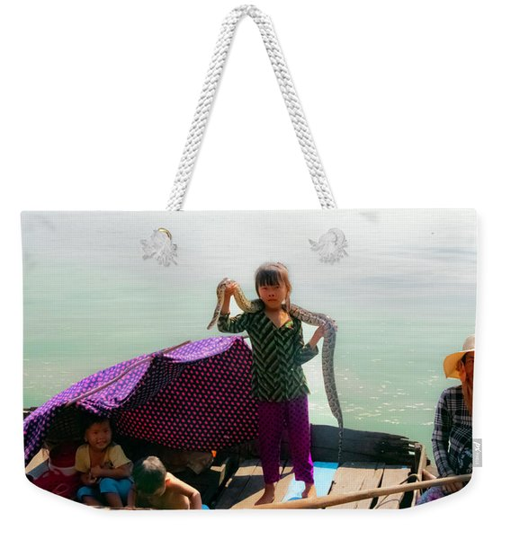 Young Girl With Snake , Cambodia Weekender Tote Bag