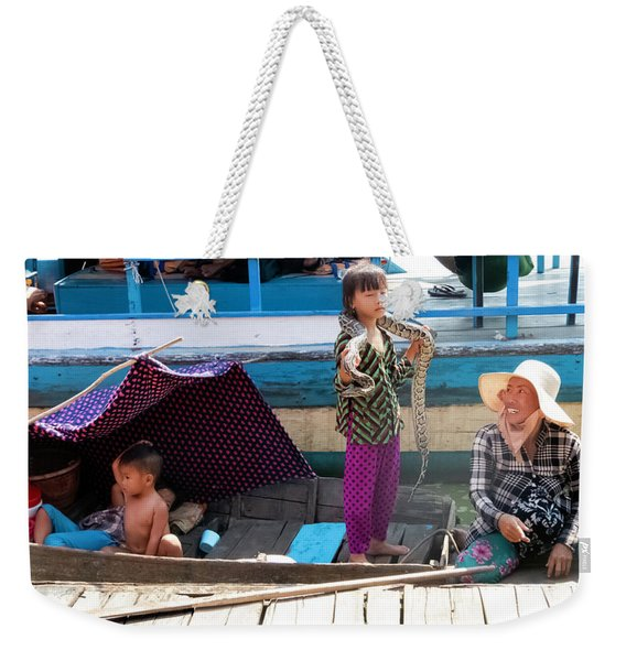 Young Girl With Snake 2, Cambodia Weekender Tote Bag