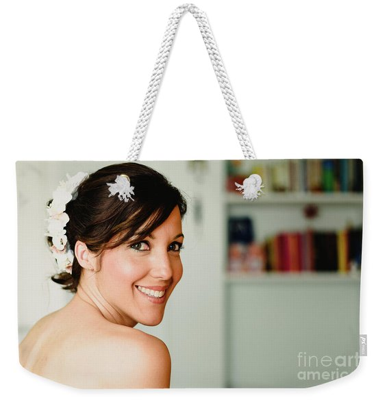 Young Woman From Behind Smiling Weekender Tote Bag