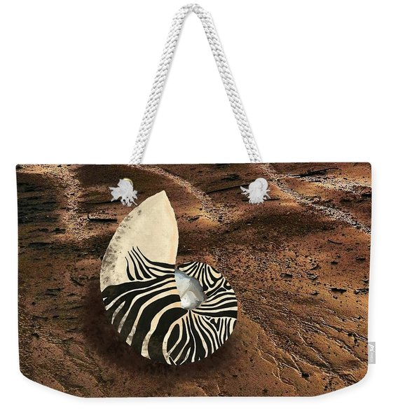 Zebra Nautilus Shell On The Sand Weekender Tote Bag