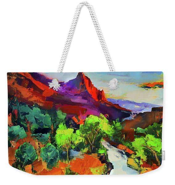 Zion - The Watchman And The Virgin River Vista Weekender Tote Bag
