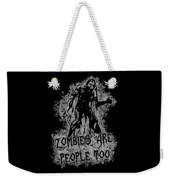 Zombies Are People Too Halloween Vintage Weekender Tote Bag