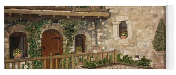 Yoga Mat featuring the painting Greek Courtyard - Agiou Stefanou Monastery -balcony by Jan Dappen