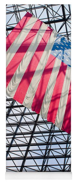 American Flag Hanging In The Atrium Of The John F Kennedy Library In Boston Massachusetts II Yoga Mat