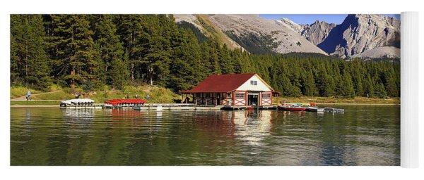 Historic Boathouse At Maligne Lake Yoga Mat