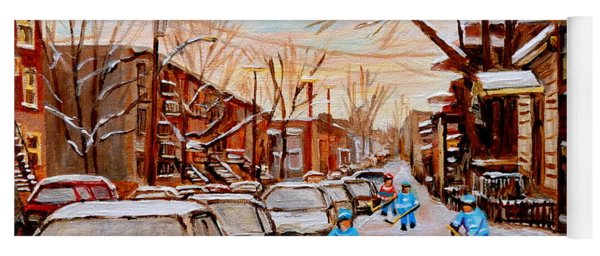 Hockey Art- Verdun Street Scene - Paintings Of Montreal Yoga Mat